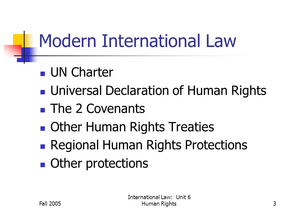 Fall 2005 International Law: Unit 6 Human Rights3 Modern International Law UN Charter Universal Declaration of Human Rights The 2 Covenants Other Human Rights Treaties Regional Human Rights Protections Other protections