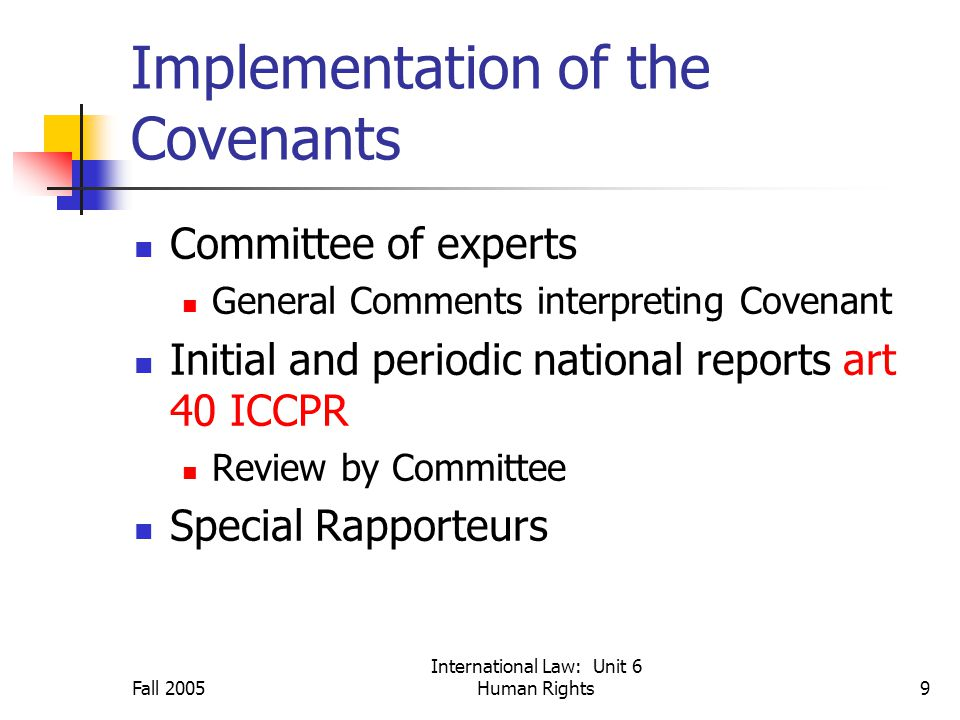 Fall 2005 International Law: Unit 6 Human Rights9 Implementation of the Covenants Committee of experts General Comments interpreting Covenant Initial and periodic national reports art 40 ICCPR Review by Committee Special Rapporteurs