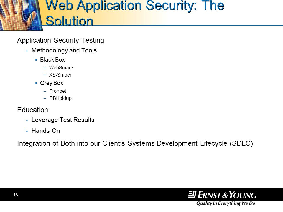 15 Web Application Security: The Solution Application Security Testing  Methodology and Tools  Black Box –WebSmack –XS-Sniper  Grey Box –Prohpet –DBHoldup Education  Leverage Test Results  Hands-On Integration of Both into our Client's Systems Development Lifecycle (SDLC)