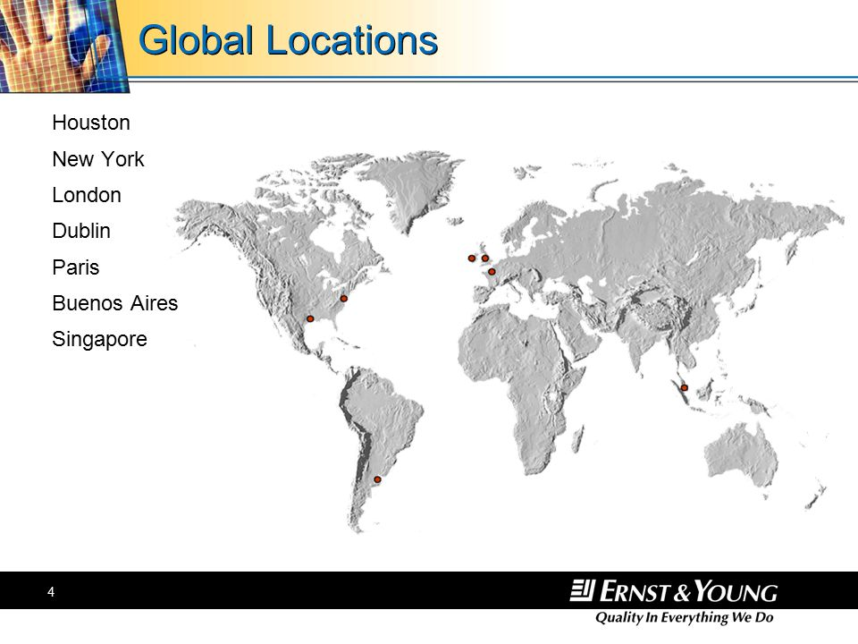 4 Global Locations Houston New York London Dublin Paris Buenos Aires Singapore