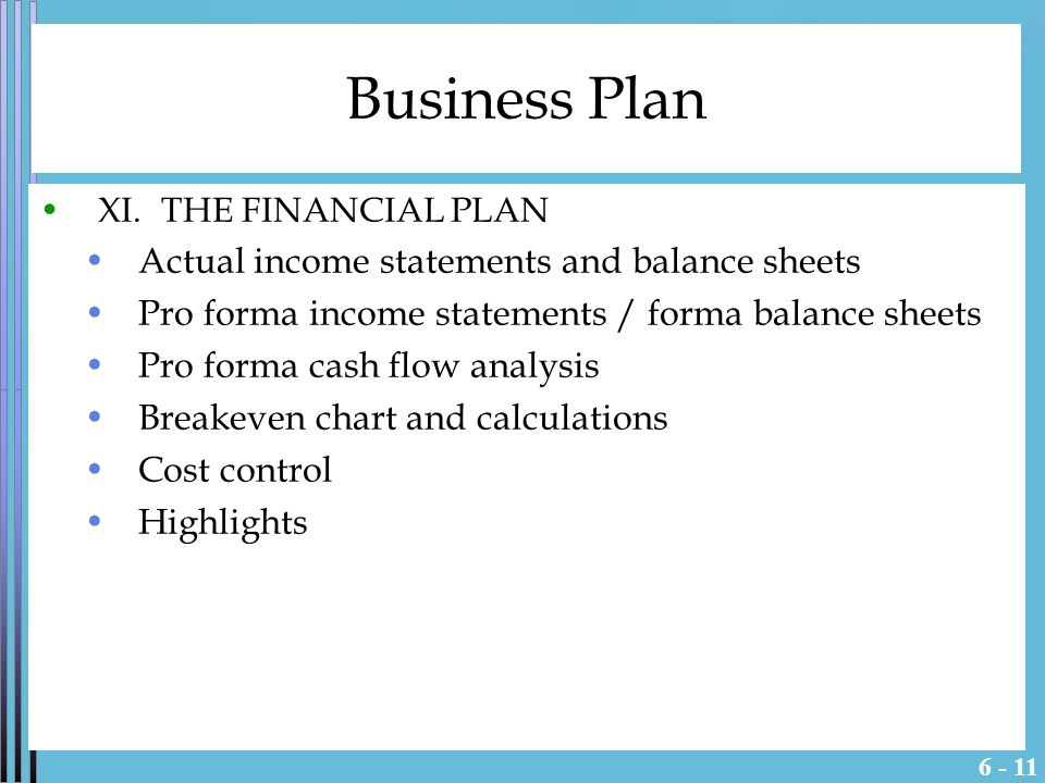 Business Plan XI.