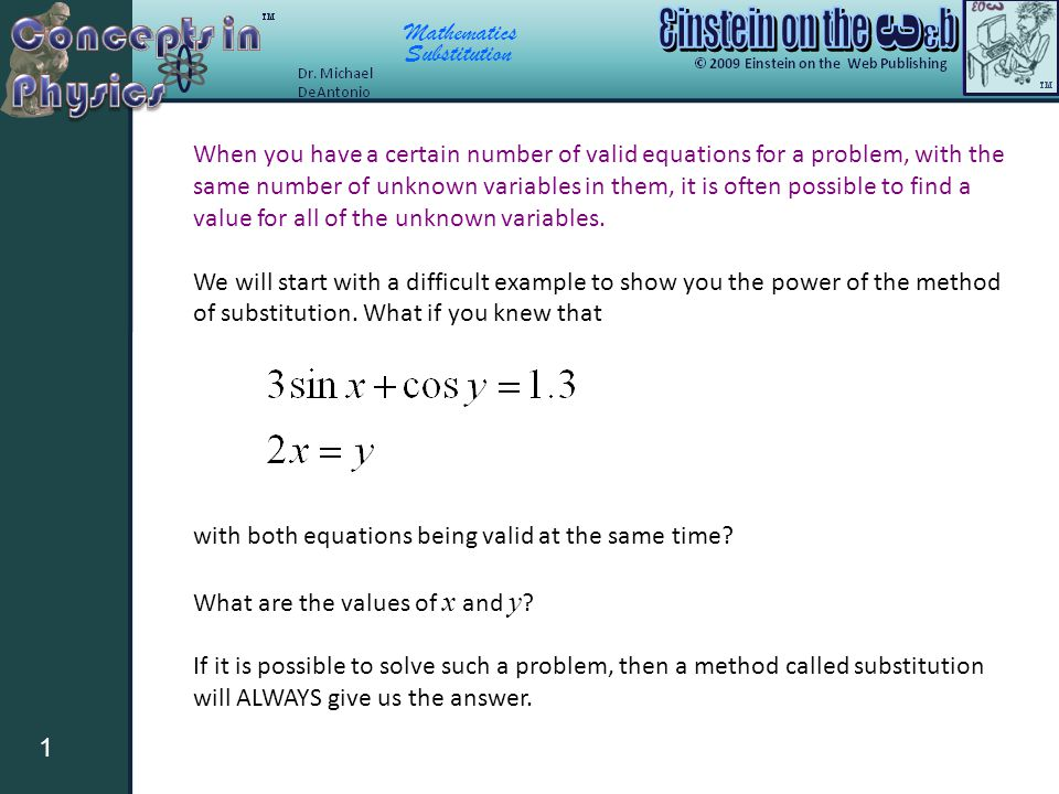 mathematics substitution 1 when you have a certain number of valid
