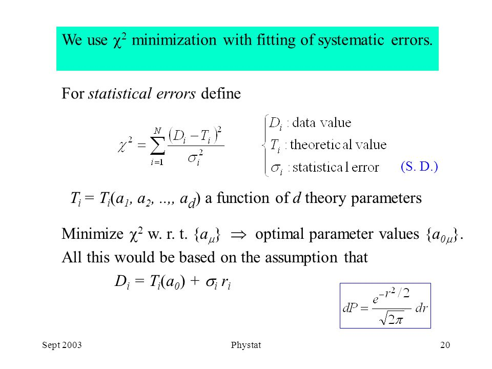 Sept 2003Phystat20 We use  2 minimization with fitting of systematic errors.