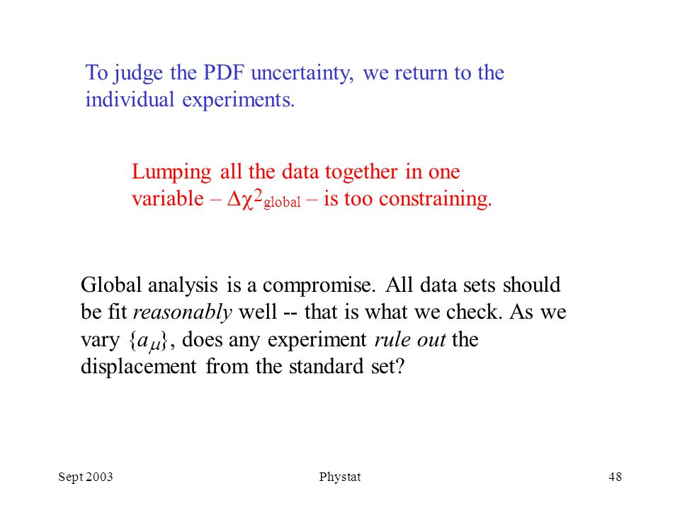 Sept 2003Phystat48 To judge the PDF uncertainty, we return to the individual experiments.