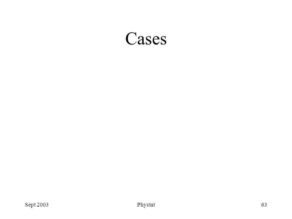 Sept 2003Phystat63 Cases