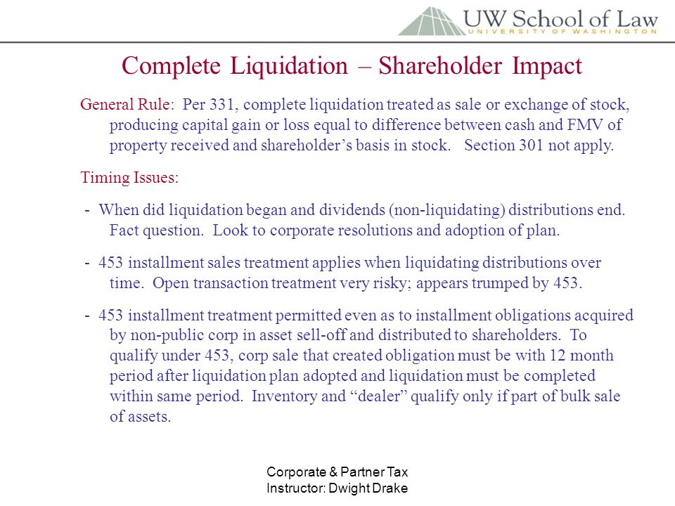 Liquidating distribution tax treatment partnership