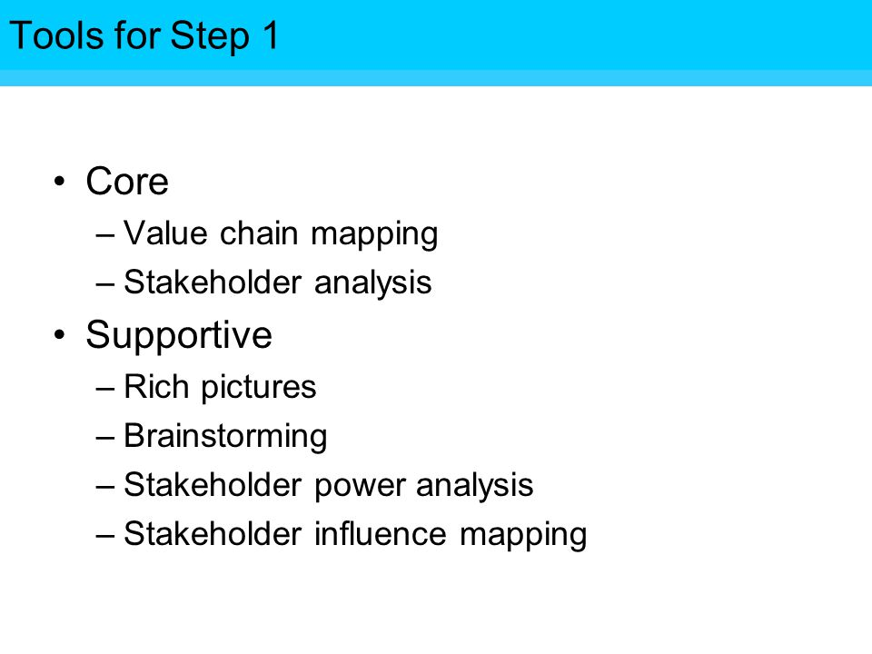 Tools for Step Core –Value chain mapping –Stakeholder analysis Supportive –Rich pictures –Brainstorming –Stakeholder power analysis –Stakeholder influence mapping Tools for Step 1