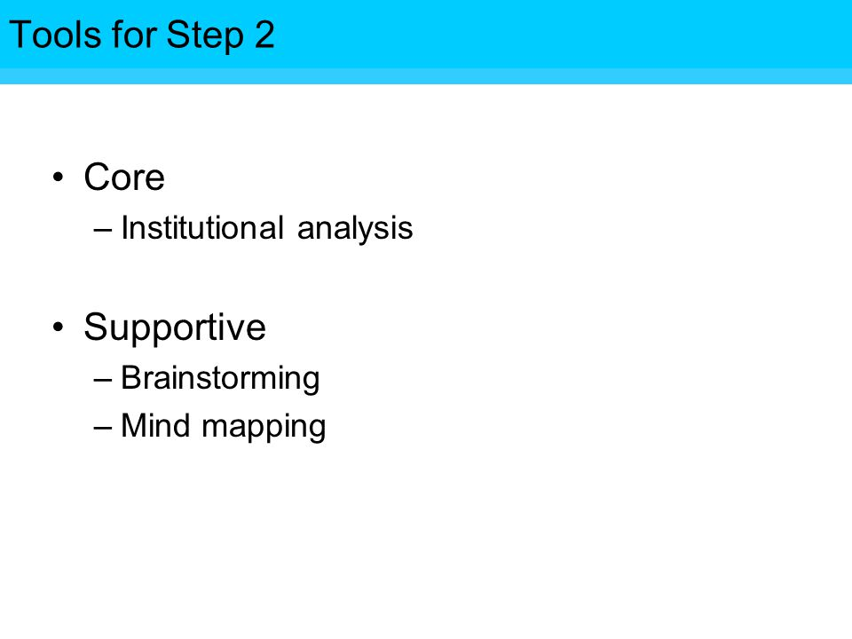 Tools for Step Core –Institutional analysis Supportive –Brainstorming –Mind mapping Tools for Step 2
