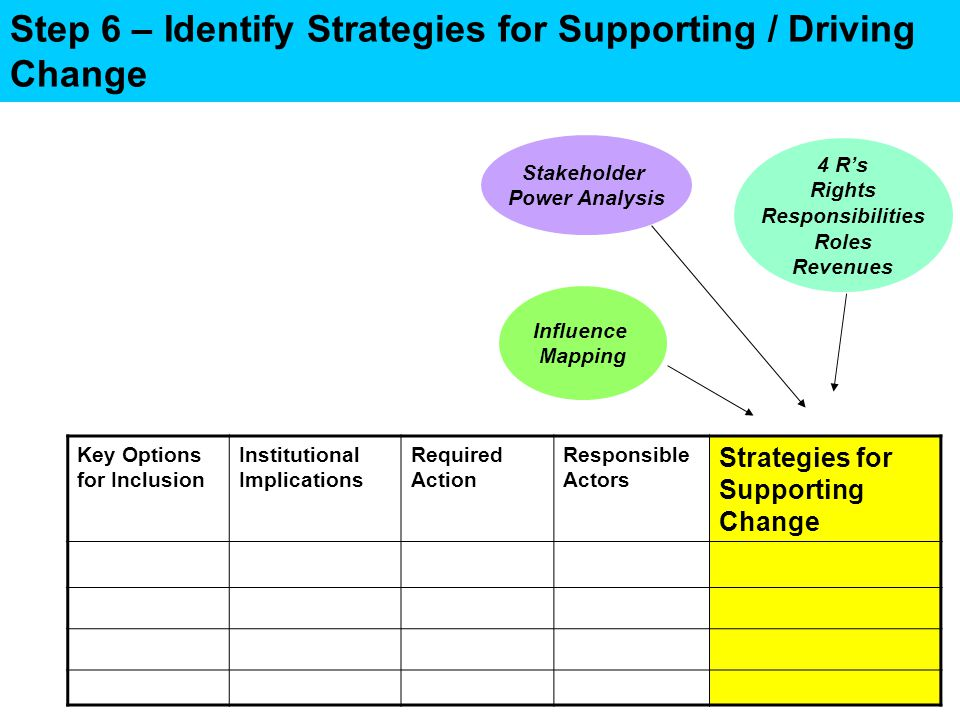 Step 6 – Identify Strategies for Supporting / Driving Change Key Options for Inclusion Institutional Implications Required Action Responsible Actors Strategies for Supporting Change Stakeholder Power Analysis 4 R's Rights Responsibilities Roles Revenues Influence Mapping