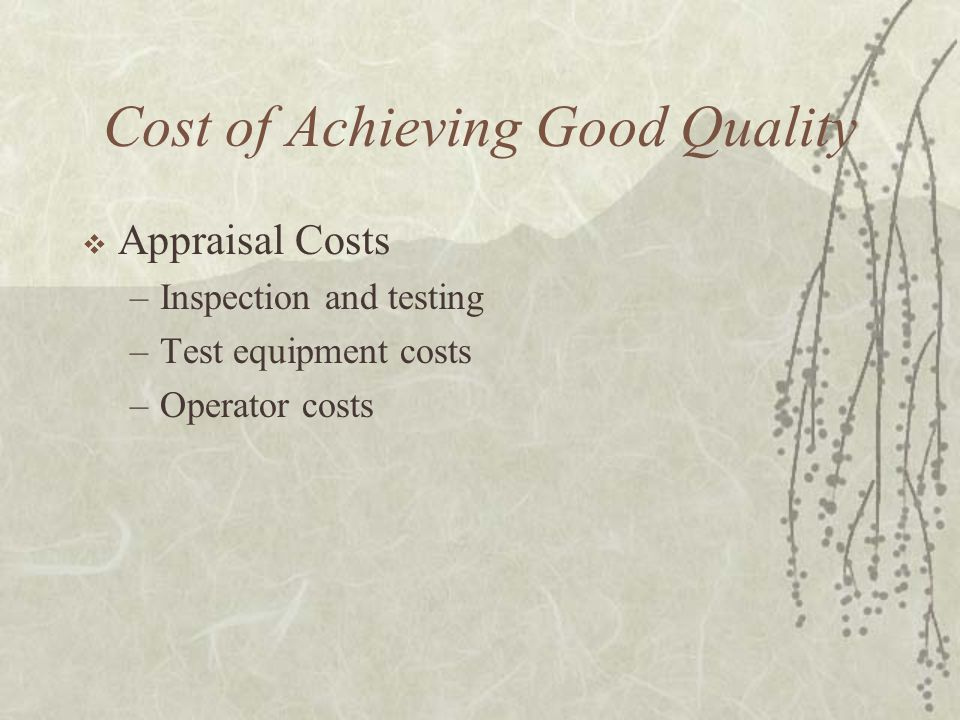 Cost of Achieving Good Quality  Appraisal Costs –Inspection and testing –Test equipment costs –Operator costs