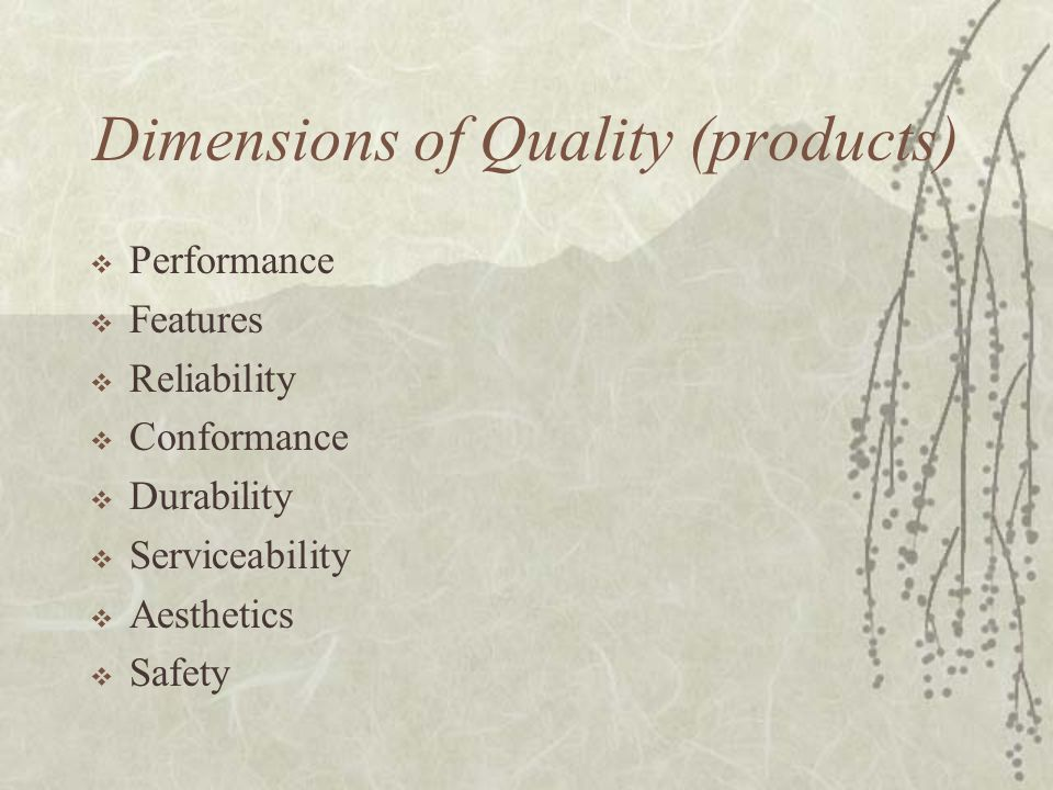 Dimensions of Quality (products)  Performance  Features  Reliability  Conformance  Durability  Serviceability  Aesthetics  Safety