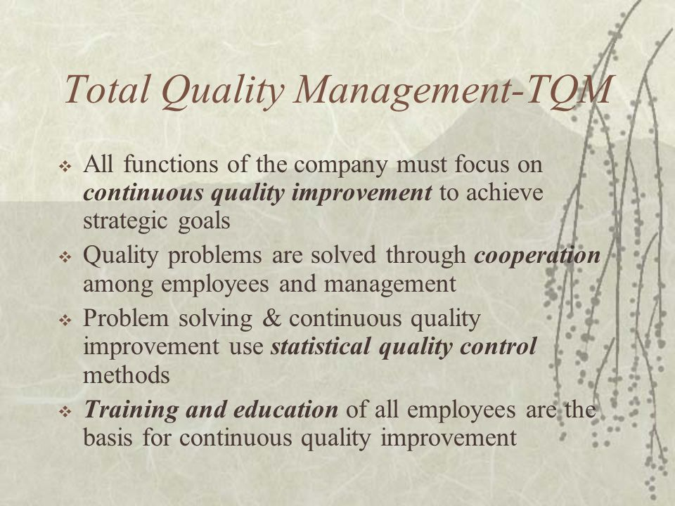 Total Quality Management-TQM  All functions of the company must focus on continuous quality improvement to achieve strategic goals  Quality problems are solved through cooperation among employees and management  Problem solving & continuous quality improvement use statistical quality control methods  Training and education of all employees are the basis for continuous quality improvement