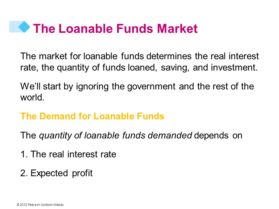 © 2012 Pearson Addison-Wesley The market for loanable funds determines the real interest rate, the quantity of funds loaned, saving, and investment.