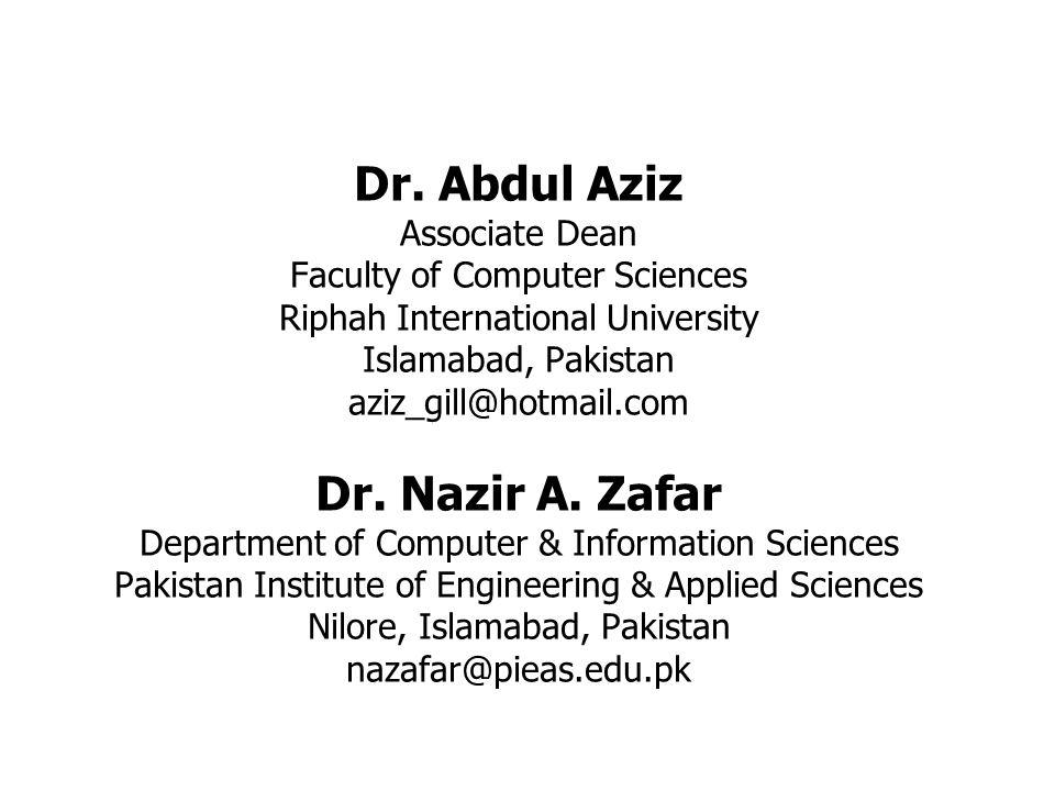 Dr  Abdul Aziz Associate Dean Faculty of Computer Sciences