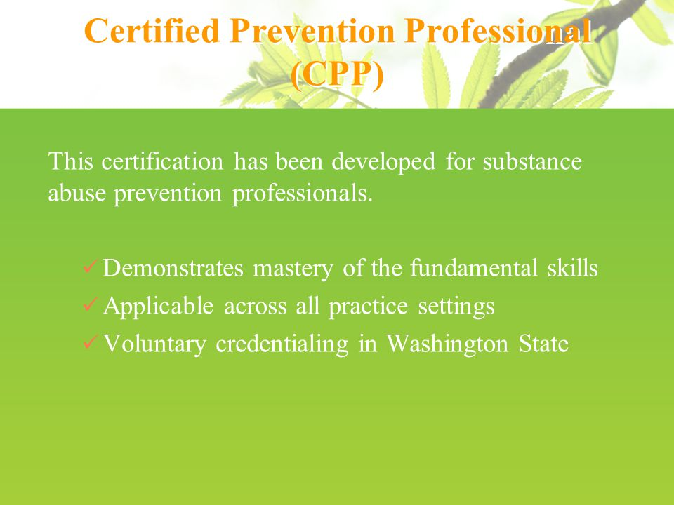 The Prevention Specialist Certification Board Of Washington Ppt
