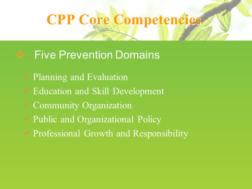 CPP Core Competencies  Five Prevention Domains Planning and Evaluation Education and Skill Development Community Organization Public and Organizational Policy Professional Growth and Responsibility