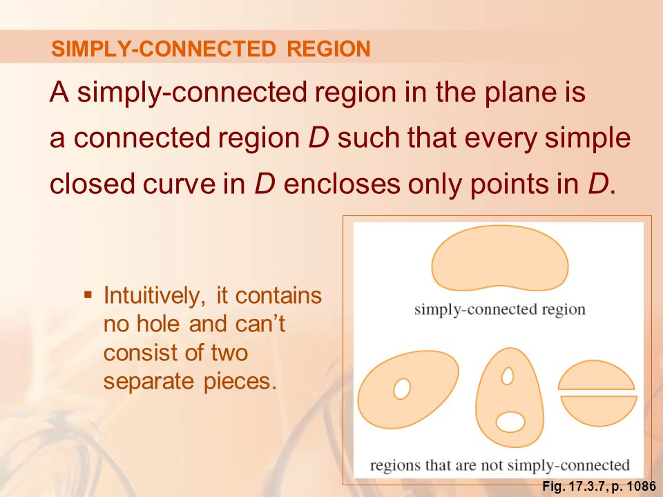 49 SIMPLY-CONNECTED REGION A simply-connected region in the plane is a connected region D such that every simple closed curve in D encloses only points in D.