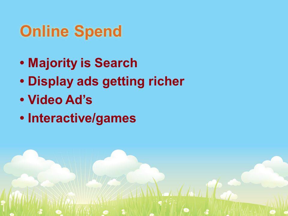 Online Spend Majority is Search Display ads getting richer Video Ad's Interactive/games