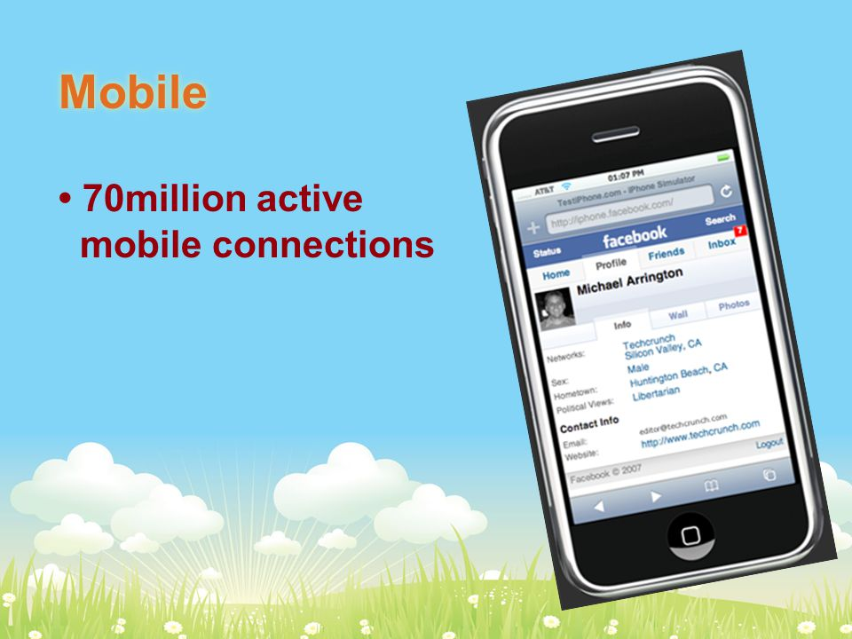 Mobile 70million active mobile connections