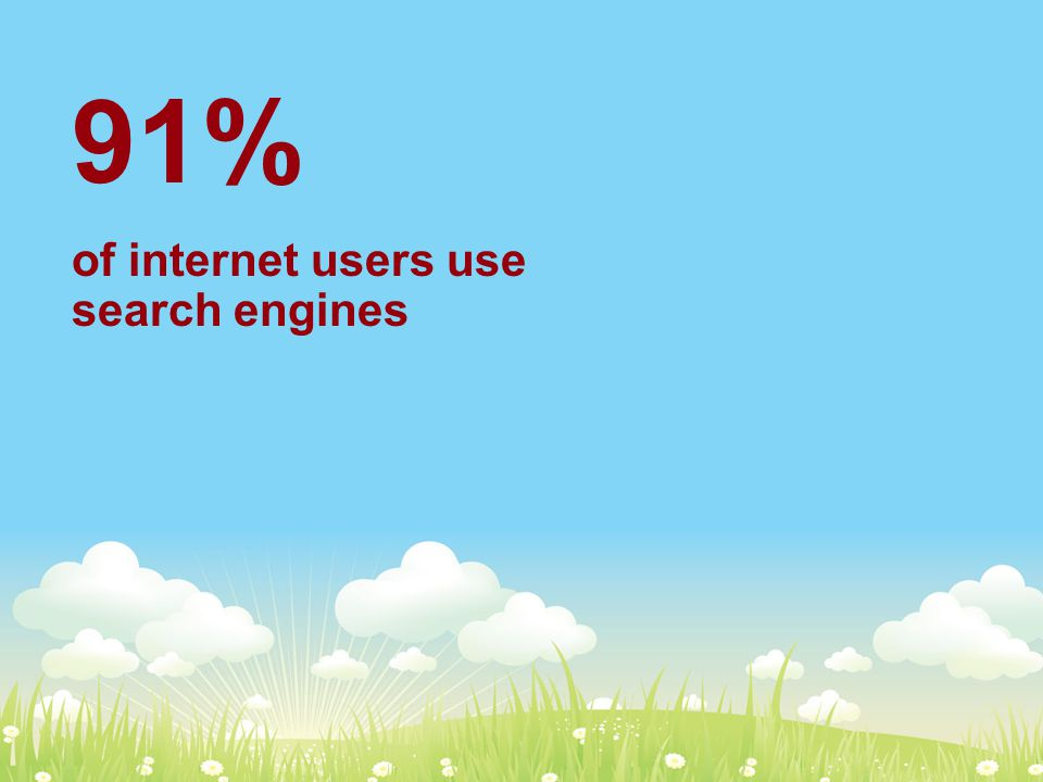 91% of internet users use search engines