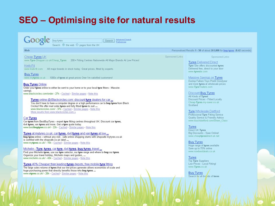 SEO – Optimising site for natural results