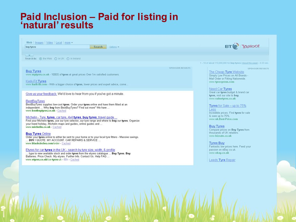 Paid Inclusion – Paid for listing in 'natural' results