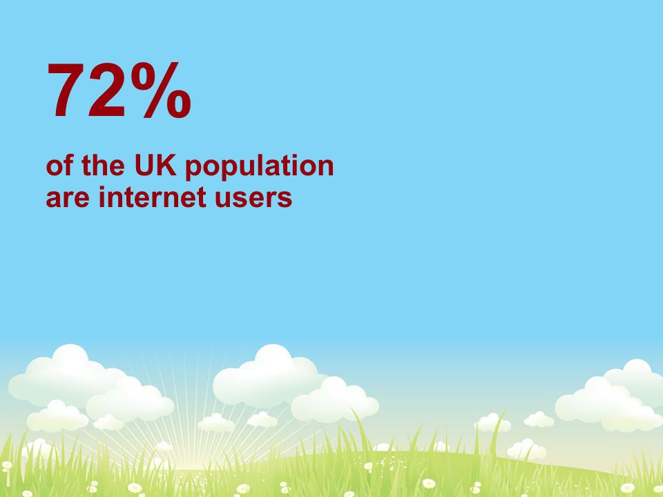 72% of the UK population are internet users