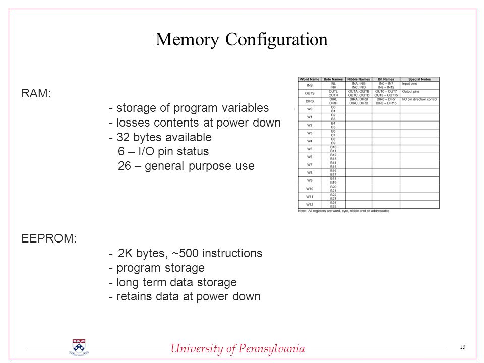 University of Pennsylvania 13 RAM: - storage of program variables - losses contents at power down - 32 bytes available 6 – I/O pin status 26 – general purpose use EEPROM: -2K bytes, ~500 instructions - program storage - long term data storage - retains data at power down Memory Configuration