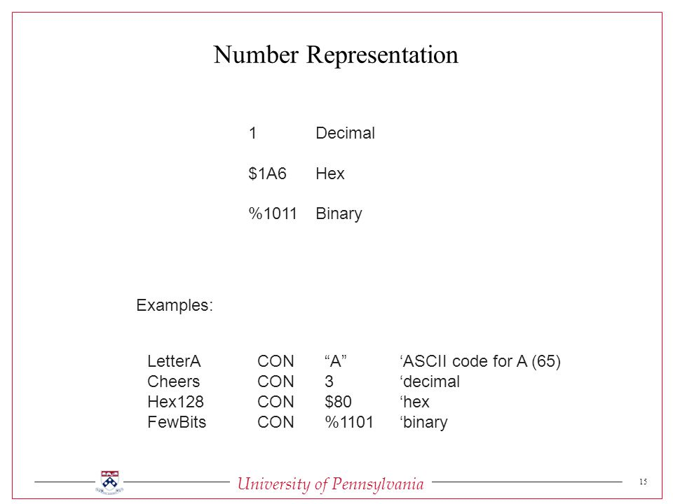 University of Pennsylvania 15 1Decimal $1A6Hex %1011Binary LetterACON A 'ASCII code for A (65) CheersCON3'decimal Hex128CON$80'hex FewBitsCON%1101'binary Examples: Number Representation