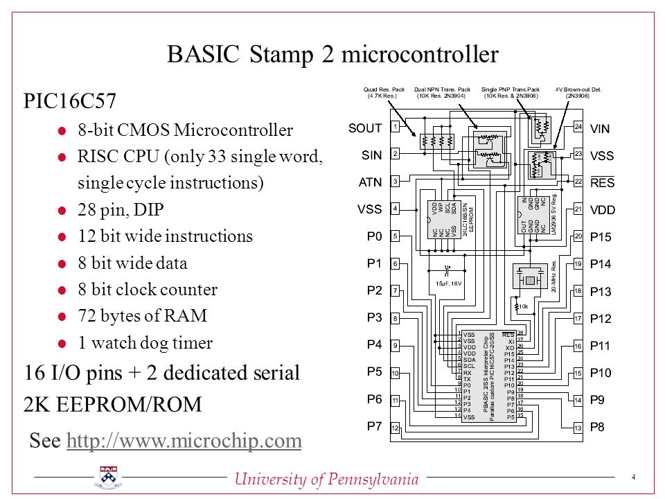 University of Pennsylvania 4 BASIC Stamp 2 microcontroller PIC16C57 l 8-bit CMOS Microcontroller l RISC CPU (only 33 single word, single cycle instructions) l 28 pin, DIP l 12 bit wide instructions l 8 bit wide data l 8 bit clock counter l 72 bytes of RAM l 1 watch dog timer 16 I/O pins + 2 dedicated serial 2K EEPROM/ROM See
