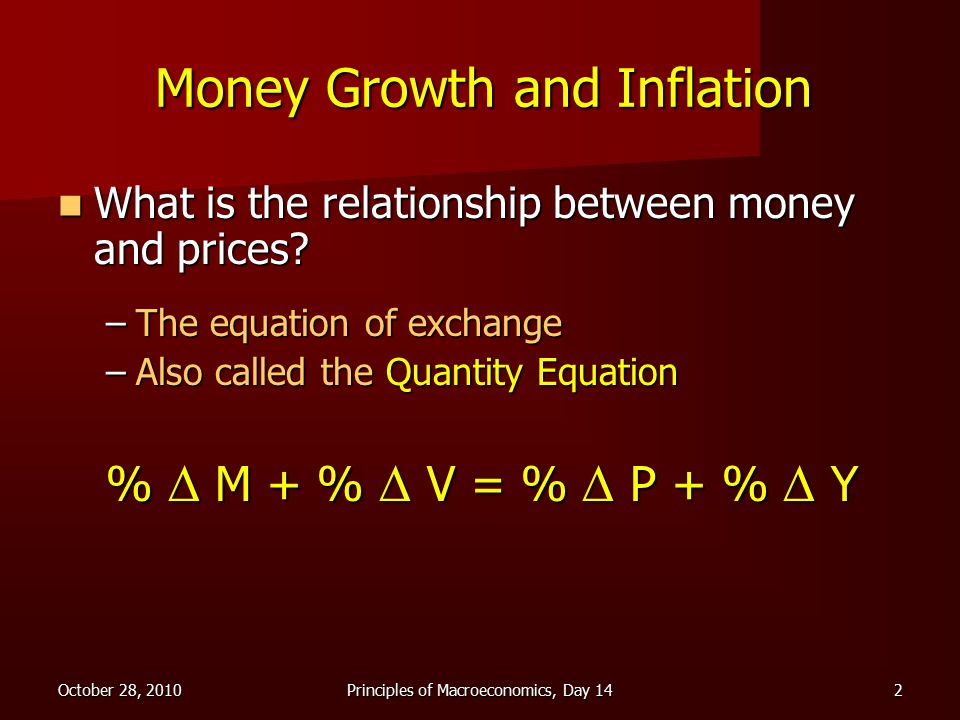 October 28, 2010Principles of Macroeconomics, Day 142 Money Growth and Inflation What is the relationship between money and prices.