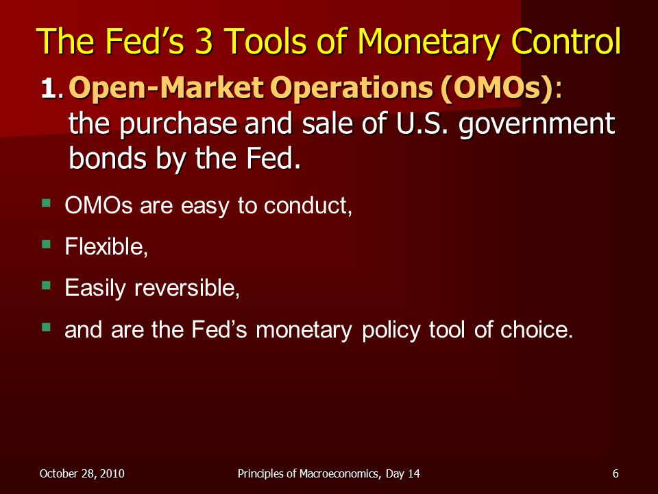 October 28, 2010Principles of Macroeconomics, Day 146 The Fed's 3 Tools of Monetary Control 1.