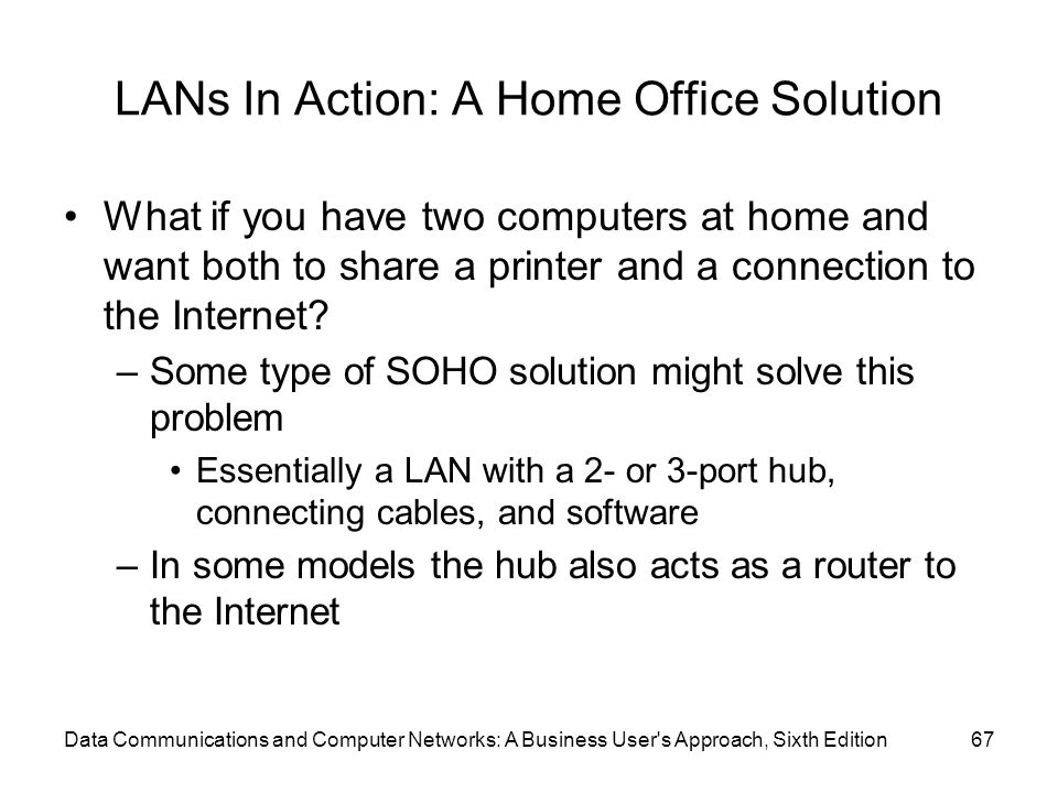 Data Communications and Computer Networks: A Business User s Approach, Sixth Edition67 LANs In Action: A Home Office Solution What if you have two computers at home and want both to share a printer and a connection to the Internet.