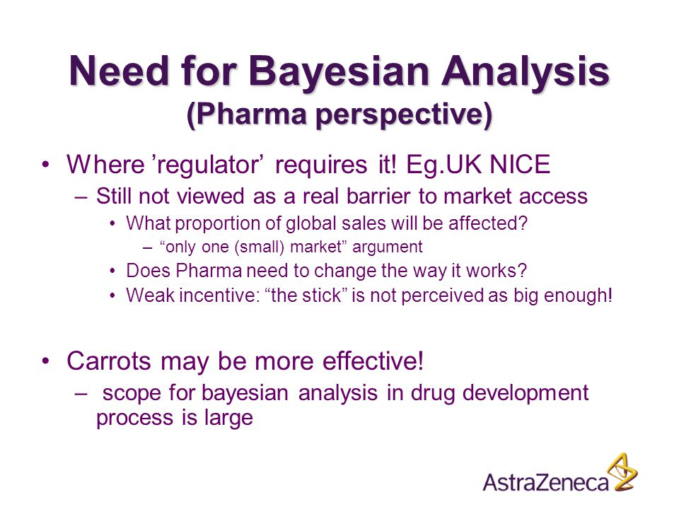 Need for Bayesian Analysis (Pharma perspective) Where 'regulator' requires it.