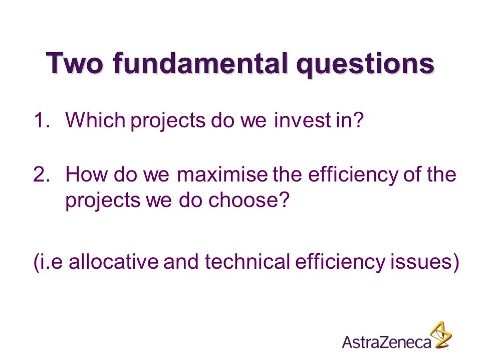 Two fundamental questions 1.Which projects do we invest in.