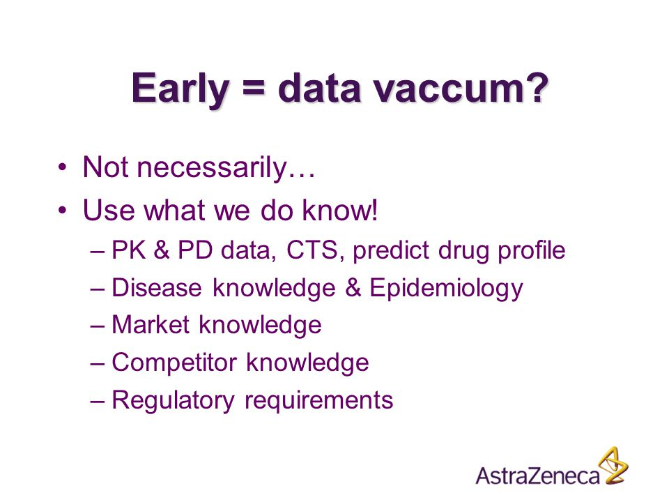 Early = data vaccum. Not necessarily… Use what we do know.