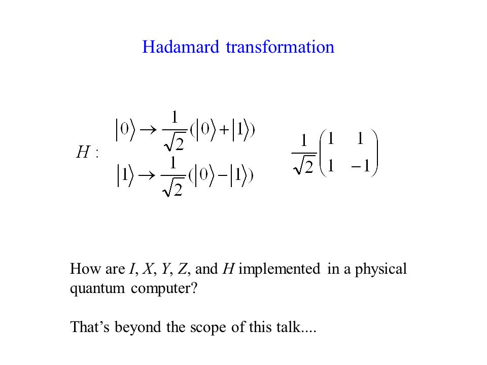 How are I, X, Y, Z, and H implemented in a physical quantum computer.