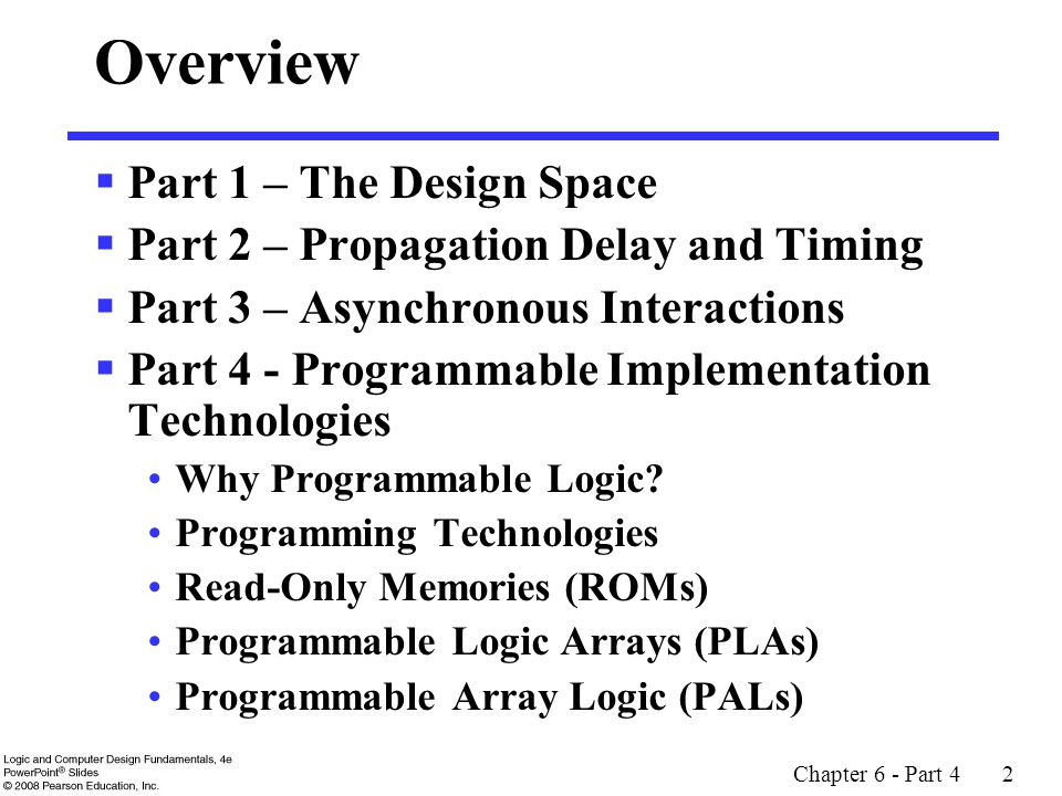 Chapter 6 - Part 4 2 Overview  Part 1 – The Design Space  Part 2 – Propagation Delay and Timing  Part 3 – Asynchronous Interactions  Part 4 - Programmable Implementation Technologies Why Programmable Logic.