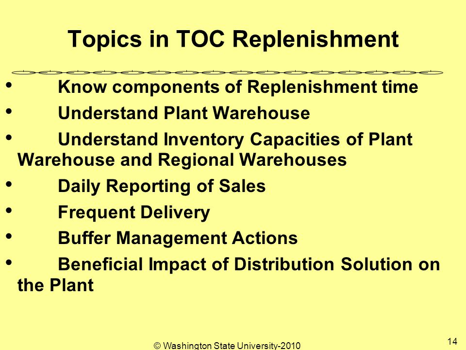 © Washington State University Topics in TOC Replenishment Know components of Replenishment time Understand Plant Warehouse Understand Inventory Capacities of Plant Warehouse and Regional Warehouses Daily Reporting of Sales Frequent Delivery Buffer Management Actions Beneficial Impact of Distribution Solution on the Plant