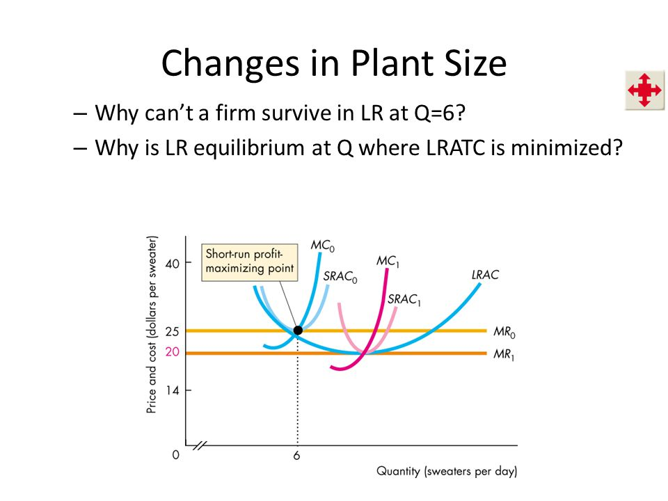 Changes in Plant Size – Why can't a firm survive in LR at Q=6.