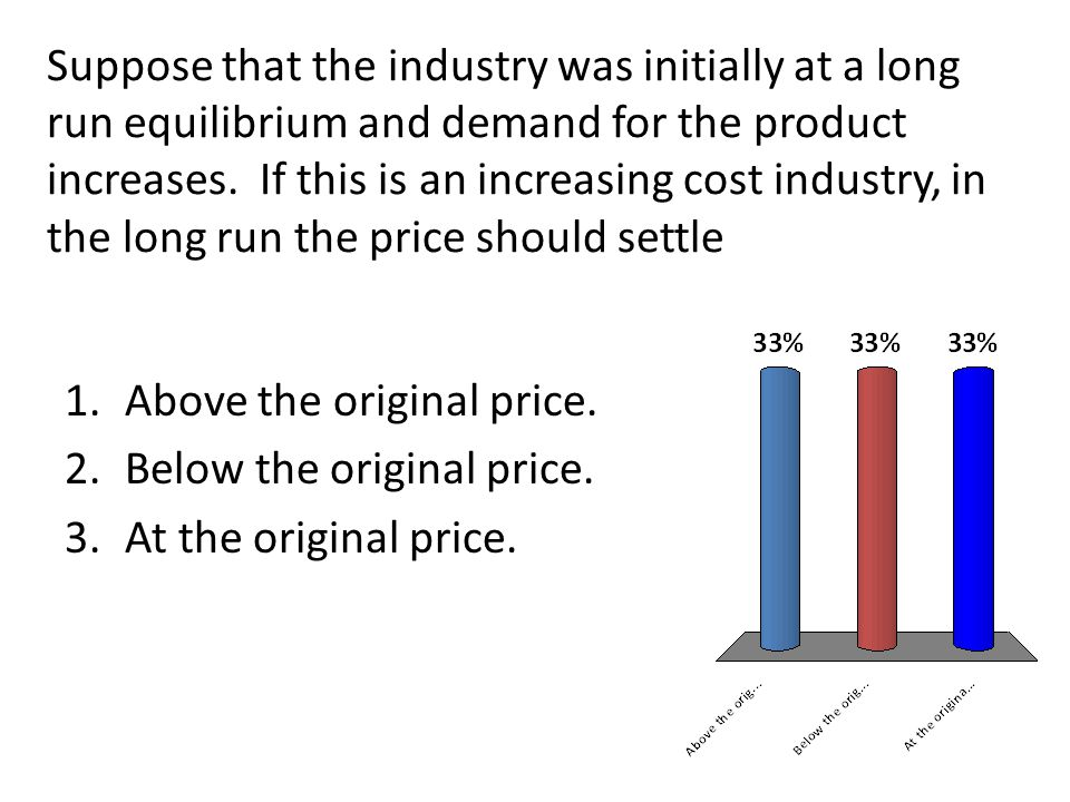 Suppose that the industry was initially at a long run equilibrium and demand for the product increases.