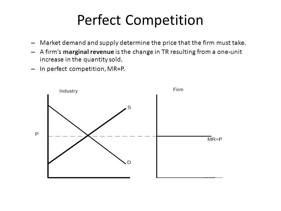 Perfect Competition – Market demand and supply determine the price that the firm must take.
