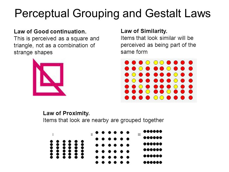 the gestalt laws of perceptual organisation psychology essay Gestalt psychology influenced the cognitive movement with its focus on organization, structure, relationships, the active role of the subject, and the important part played by perception in learning and memory (schultz, 2011, chapter 15, antecedent influences on cognitive psychology.
