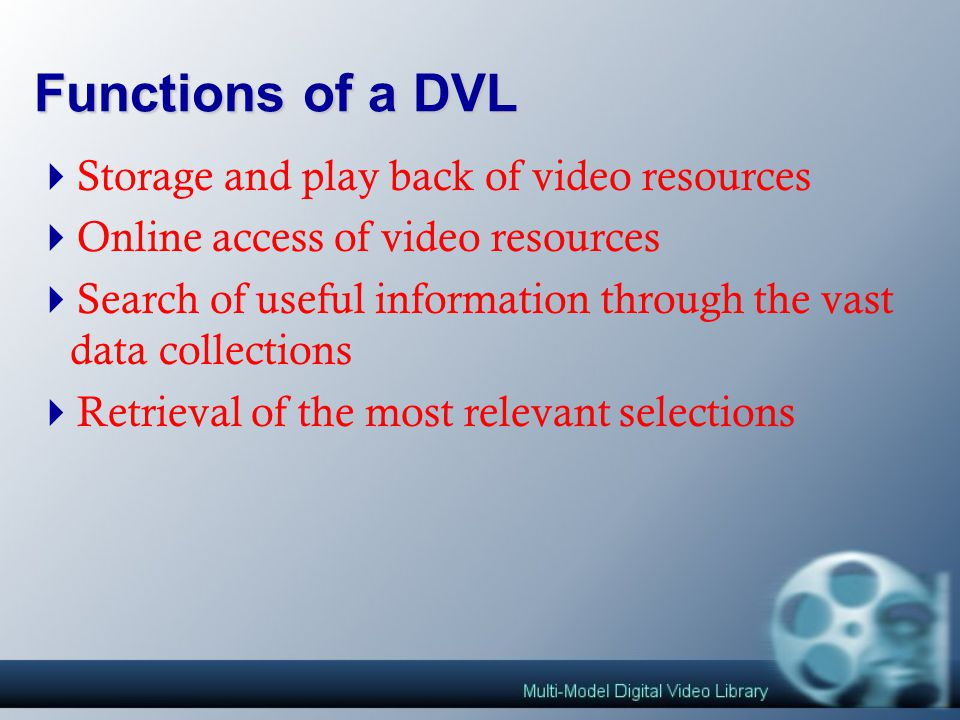 Introduction of Digital Video Library  Functions of a DVL  Why Digital Video Library.