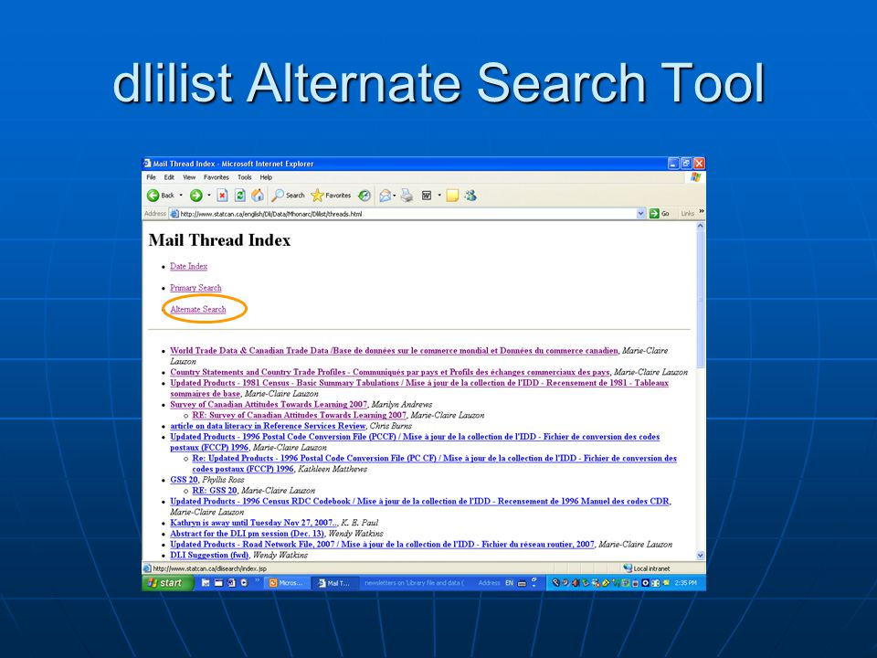 dlilist Alternate Search Tool