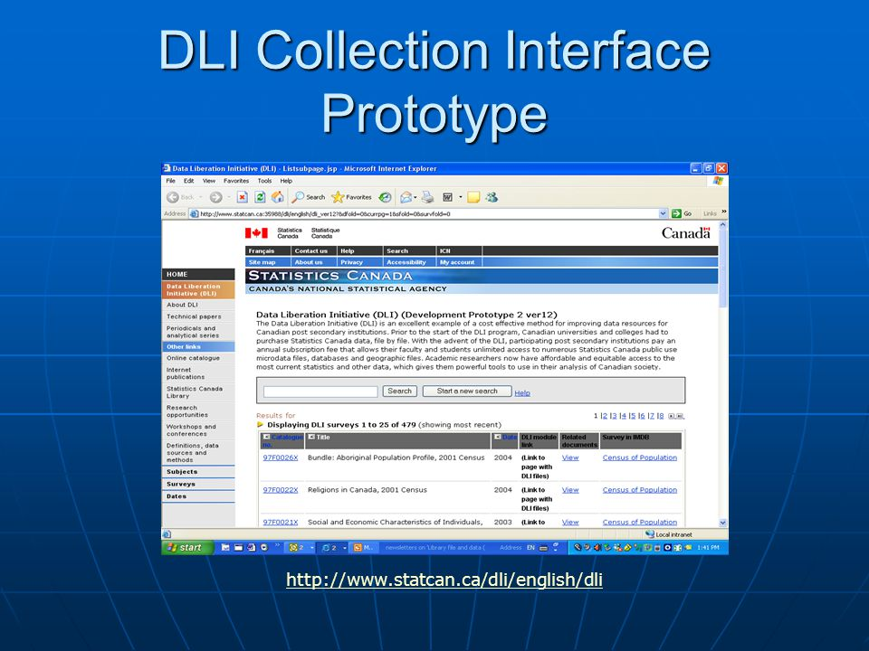 DLI Collection Interface Prototype