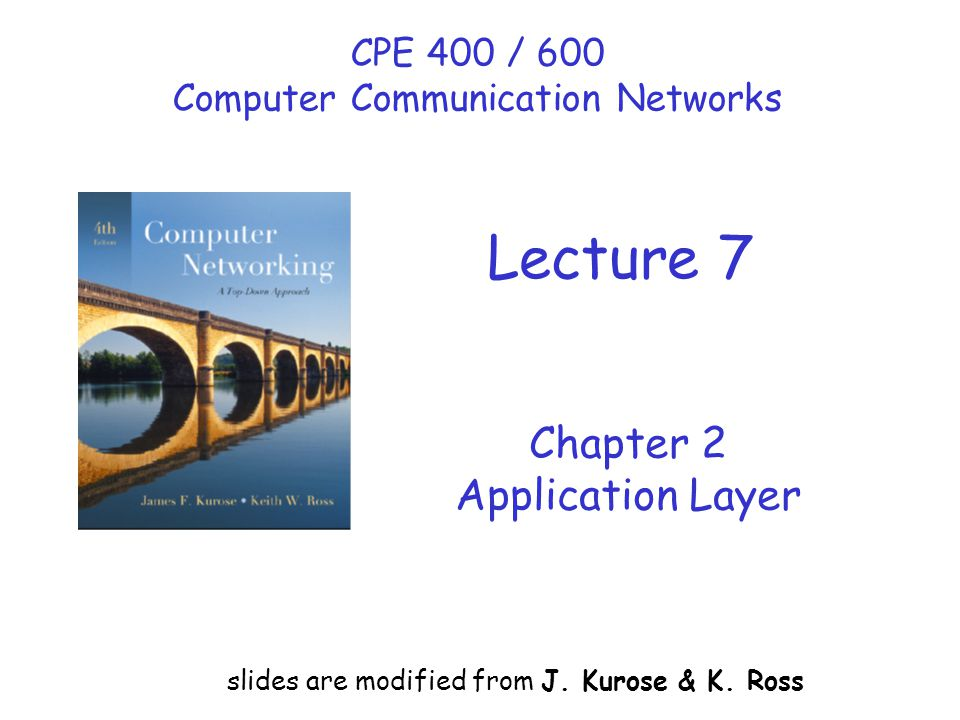 Chapter 2 Application Layer slides are modified from J.