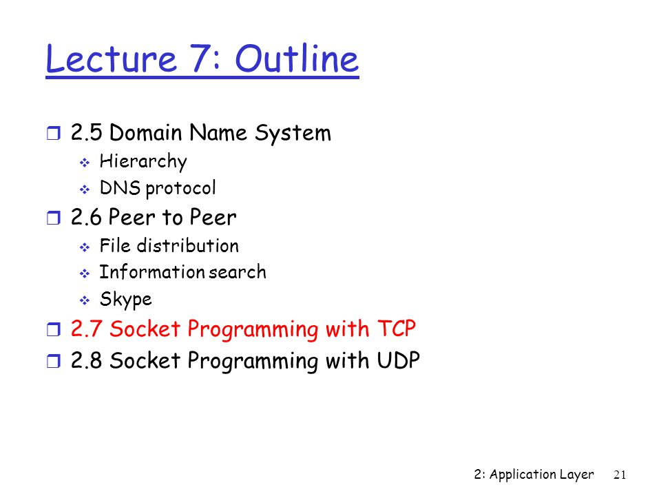 2: Application Layer 21 Lecture 7: Outline r 2.5 Domain Name System  Hierarchy  DNS protocol r 2.6 Peer to Peer  File distribution  Information search  Skype r 2.7 Socket Programming with TCP r 2.8 Socket Programming with UDP