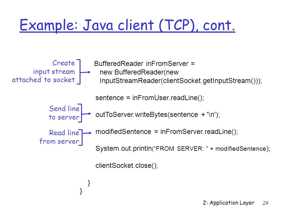 2: Application Layer 29 Example: Java client (TCP), cont.