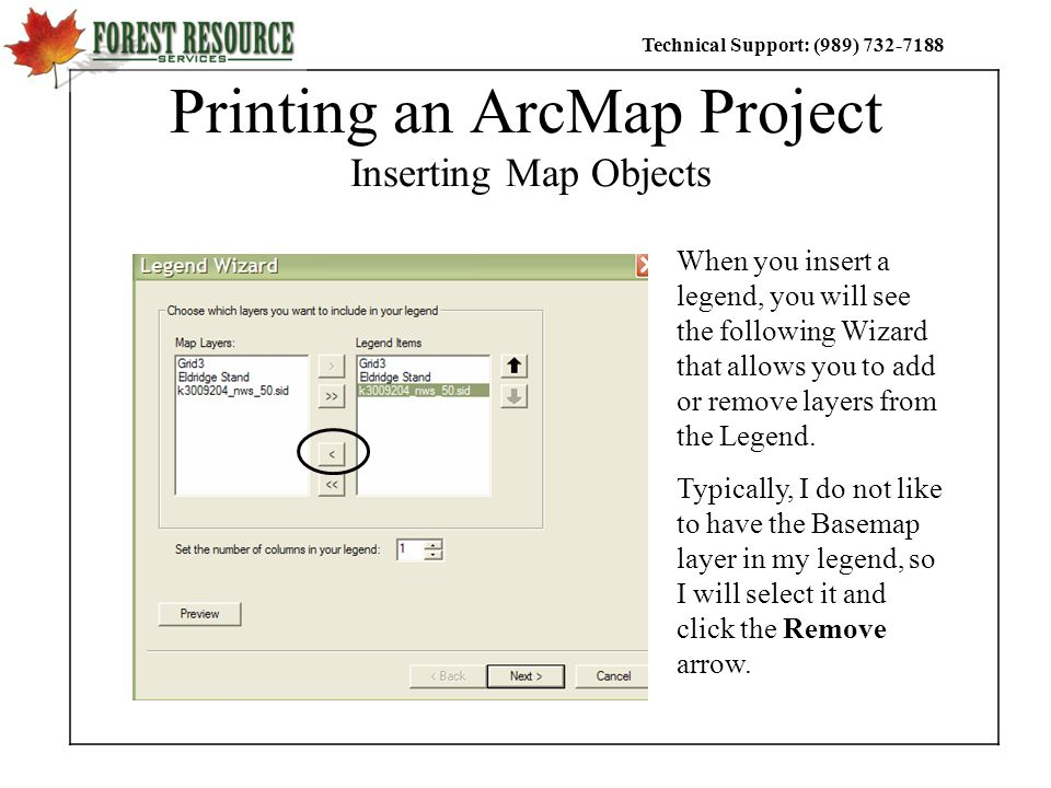 Technical Support: (989) Printing an ArcMap Project Inserting Map Objects When you insert a legend, you will see the following Wizard that allows you to add or remove layers from the Legend.